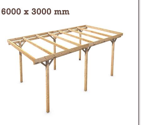 holz carport flachdach massivholz kvh 15m 5000x3000mm. Black Bedroom Furniture Sets. Home Design Ideas