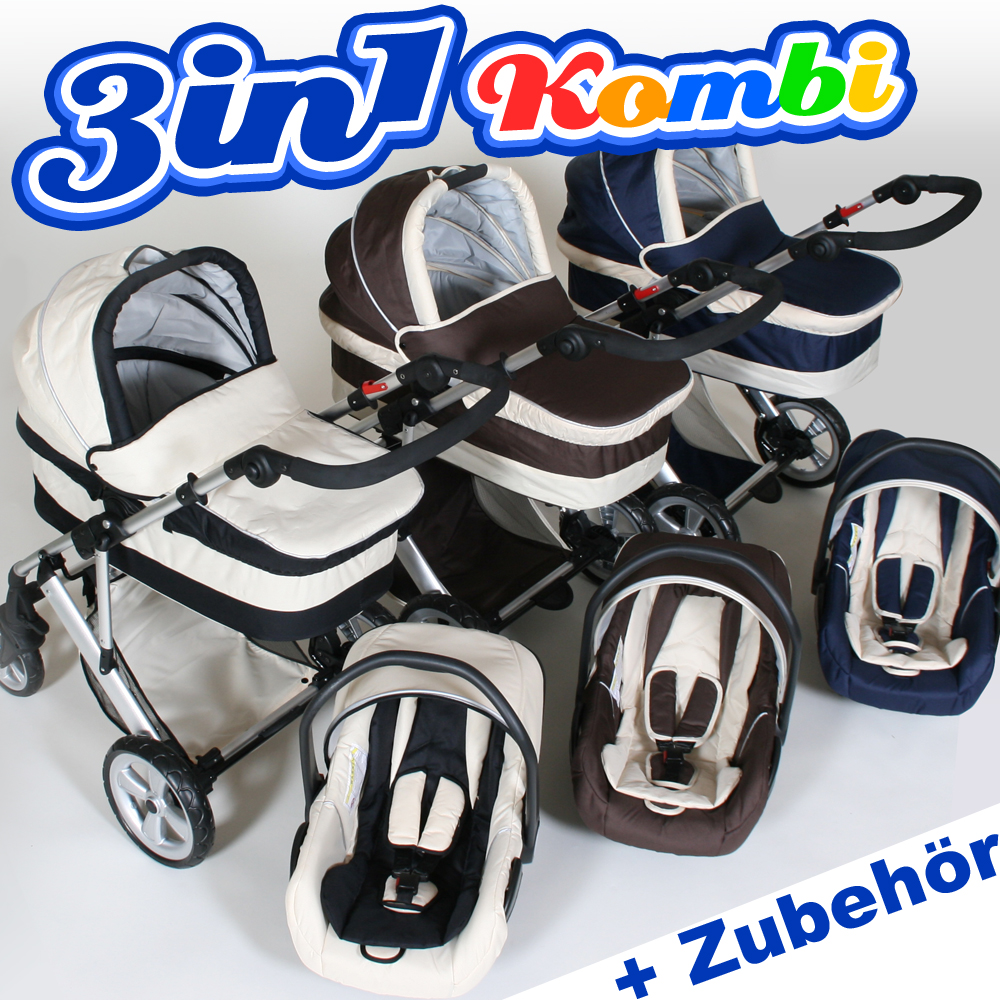kombi kinderwagen set 3in1 buggy autositz babyschale wickeltasche sonnenschirm ebay. Black Bedroom Furniture Sets. Home Design Ideas