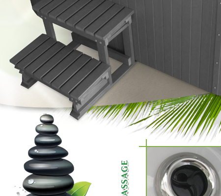 luxus whirlpool outdoor spa 4 5 personen jacuzzi grau ebay. Black Bedroom Furniture Sets. Home Design Ideas