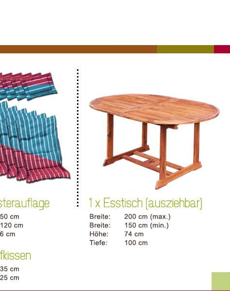Gartenmobel Aus Bambus Und Rattan : HOLZ GARTENMÖBEL SITZGRUPPE SITZGARNITUR wie Teak inkl Auflagen Set