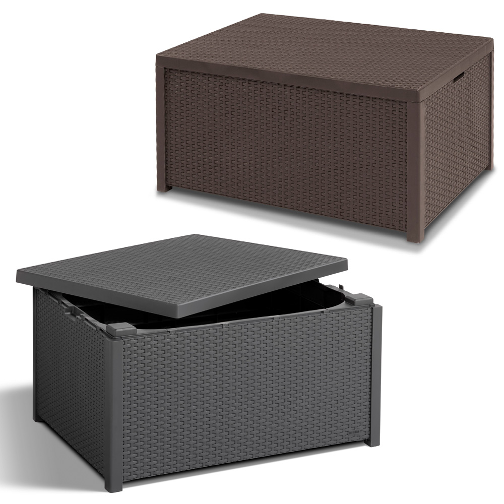poly rattan auflagenbox tisch beistelltisch hocker kissenbox box rattanoptik ebay. Black Bedroom Furniture Sets. Home Design Ideas