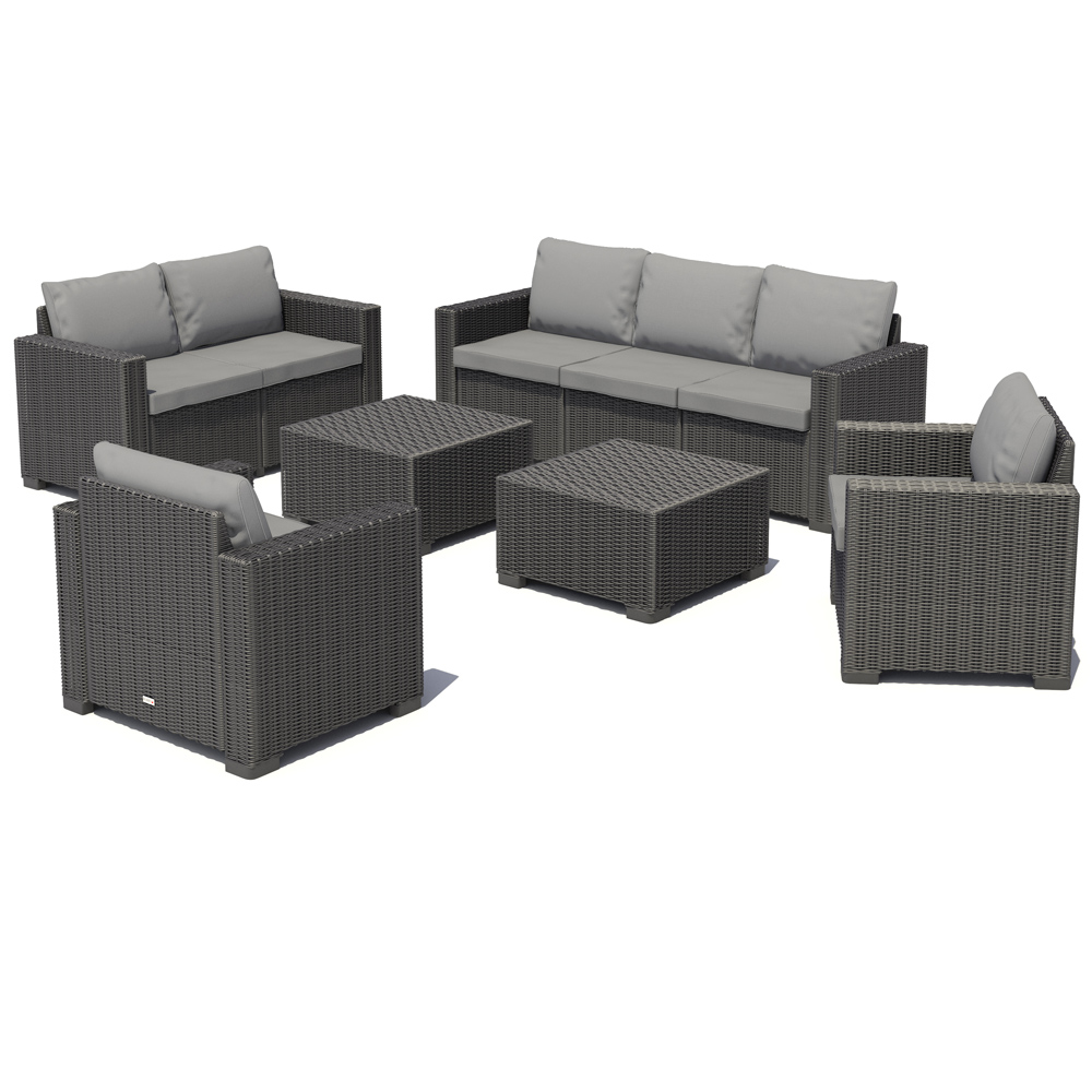 poly rattan gartenm bel lounge rattanoptik sitzgruppe garnitur anthrazit ebay. Black Bedroom Furniture Sets. Home Design Ideas