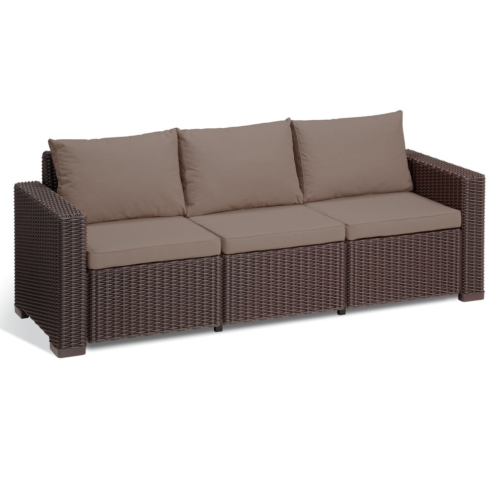 Allibert California Mobilier De Jardin Lounge En Rotin Salon Simili Plastique Marron Ebay