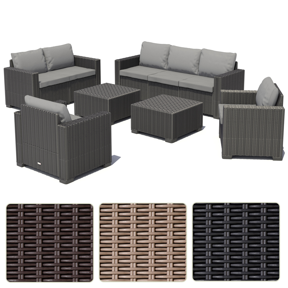 poly rattan gartenm bel lounge set rattanoptik sitzgruppe garnitur 3 farben ebay. Black Bedroom Furniture Sets. Home Design Ideas