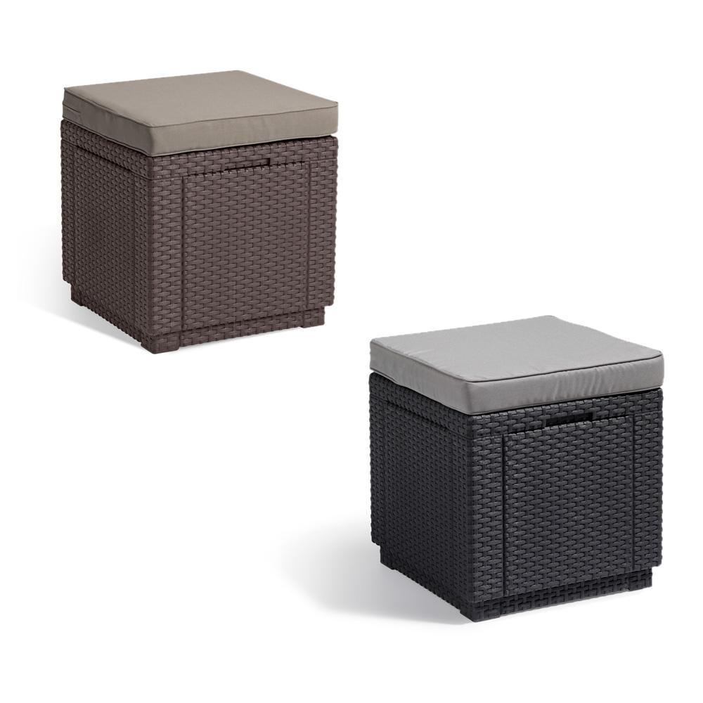 Poly Rattan Tisch Beistelltisch Hocker Box Braun Anthrazit