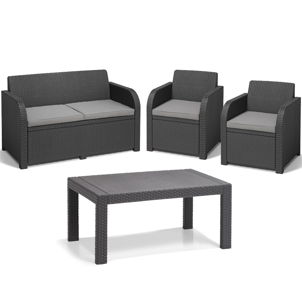 poly rattan gartenm bel lounge set rattanoptik sitzgruppe grau druckguss ebay. Black Bedroom Furniture Sets. Home Design Ideas