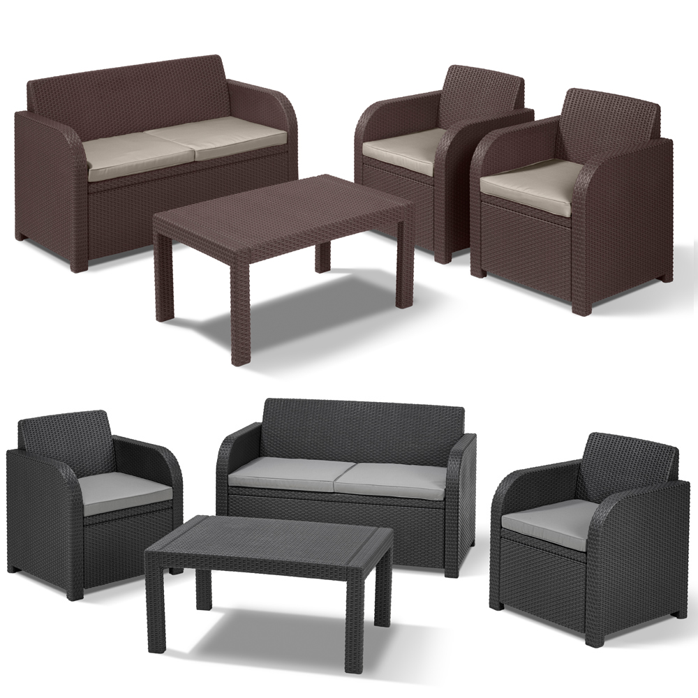 poly rattan gartenm bel lounge set rattanoptik sitzgruppe braun grau druckguss ebay. Black Bedroom Furniture Sets. Home Design Ideas