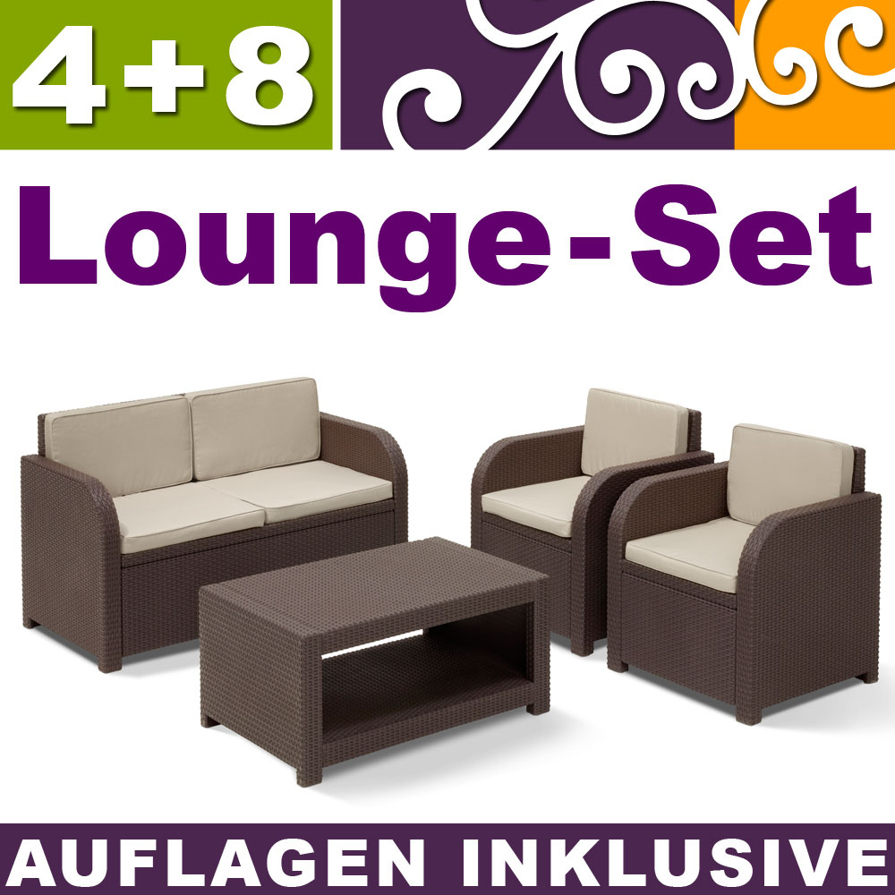 poly rattan gartenm bel garnitur lounge set rattanoptik sitzgruppe grau braun ebay. Black Bedroom Furniture Sets. Home Design Ideas