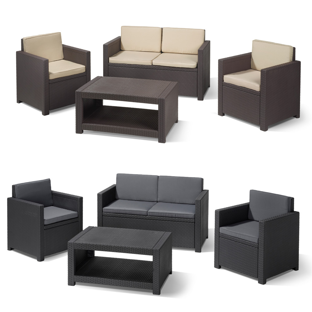 poly rattan gartenm bel lounge set rattanoptik sitzgruppe garnitur braun grau ebay. Black Bedroom Furniture Sets. Home Design Ideas