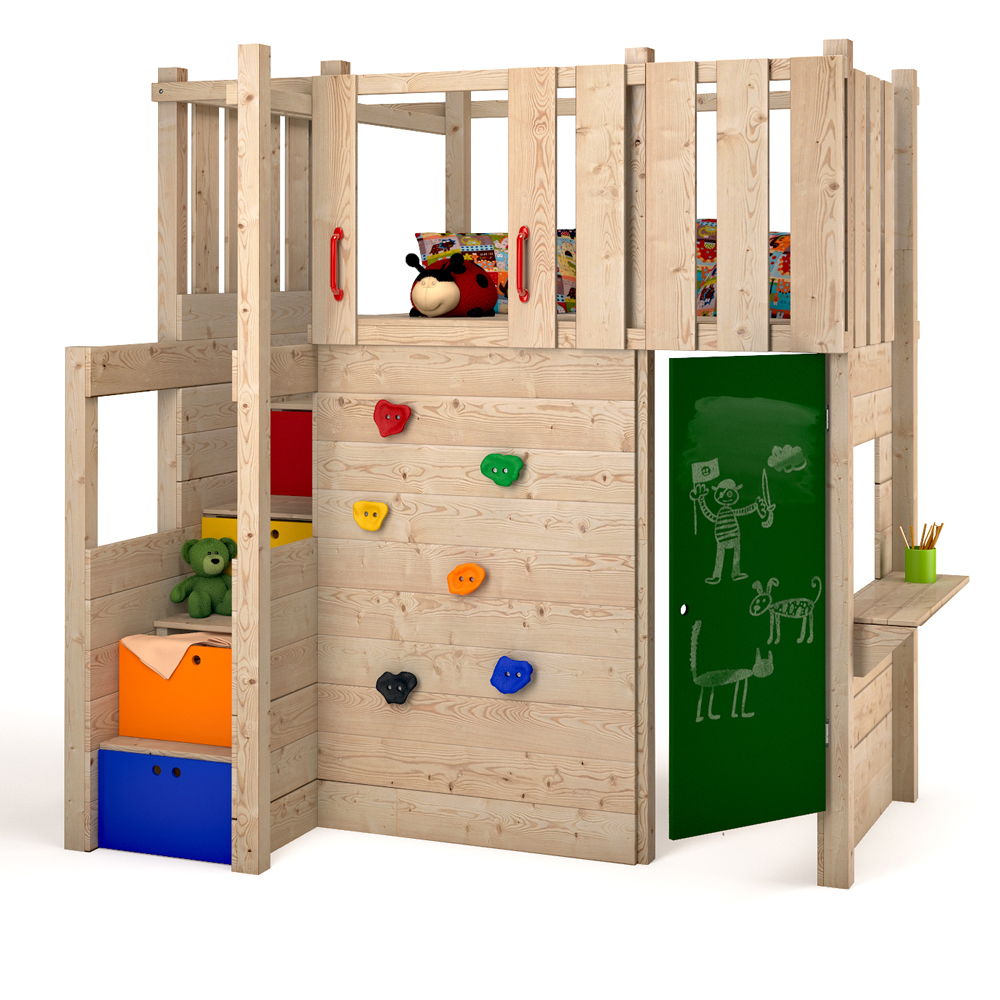 indoor spielturm hochbett spielbett kleiderschrank podest kletterwand spielplatz ebay. Black Bedroom Furniture Sets. Home Design Ideas