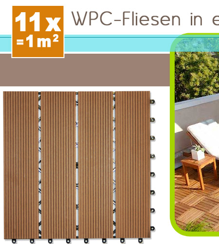 wpc holzfliesen terrassenfliesen holzfliese 30x30 cm 1m. Black Bedroom Furniture Sets. Home Design Ideas