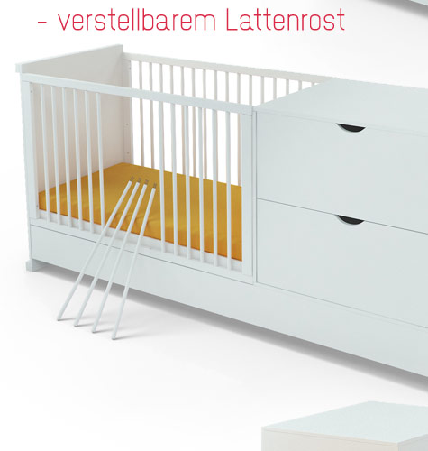 babybett mit wickelkommode jugendbett kinderbett kombi 120x60cm 4in1kommode ebay. Black Bedroom Furniture Sets. Home Design Ideas