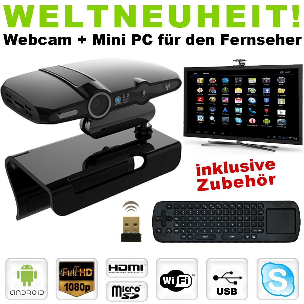 android mini pc webcam smart tv skype 8gb wifi usb hdmi. Black Bedroom Furniture Sets. Home Design Ideas